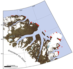 The red marks on the map indicate beach ridges