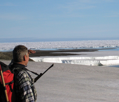 Researcher starring out over the northern ice sea