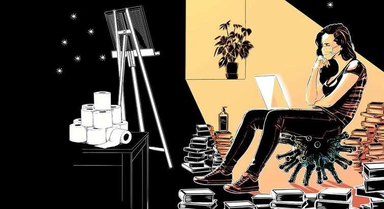 Tegning af studerende med computer og stabler af bøger